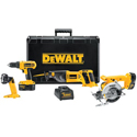DeWalt Heavy-Duty 18V Cordless Compact Drill/Driver / Trim Saw / Reciprocating Saw and Light Combo Kit